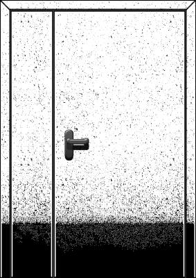 металлическая противопожарная двустворчатая дверь со